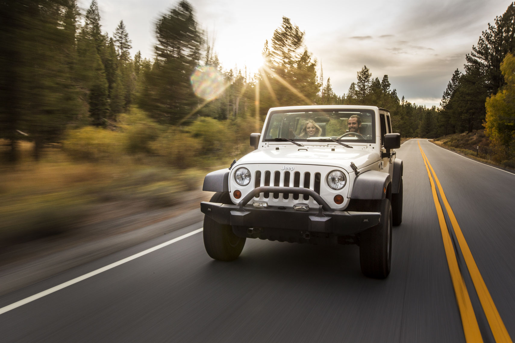 Jeep Wrangler Driving on Road